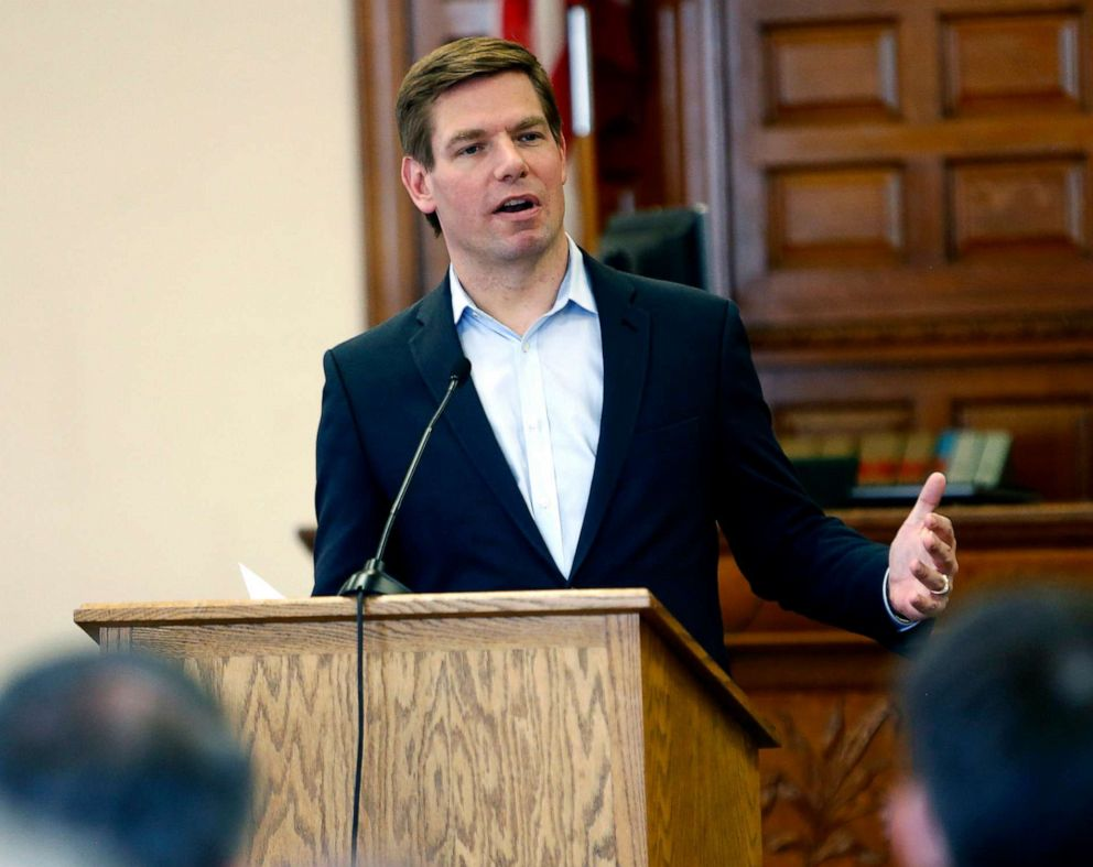 PHOTO: PPresidential hopeful, Rep. Eric Swalwell, speaks during a Law Day event on Friday, May 3, 2019 in Dubuque, Iowa.