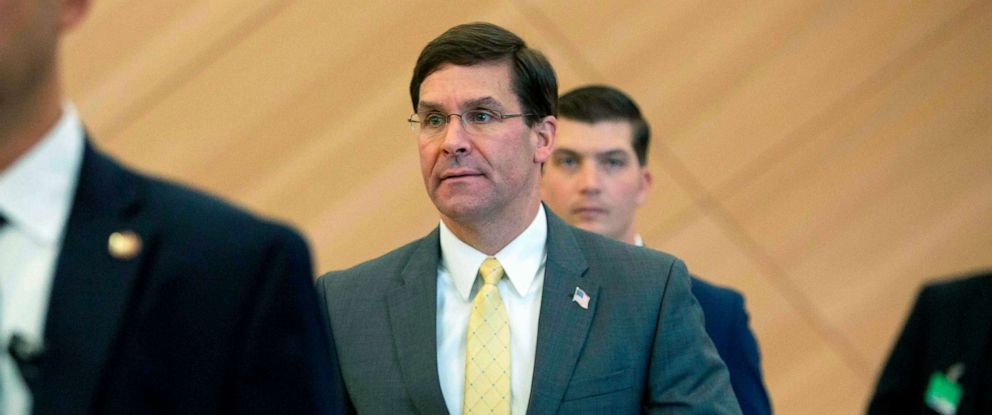PHOTO: Defense Secretary Mark Esper arrives for a bilateral meeting with Turkish Defense Minister Hulusi Akar on the sidelines of a NATO Defence ministers meeting at the NATO headquarters in Brussels, Oct. 25, 2019.