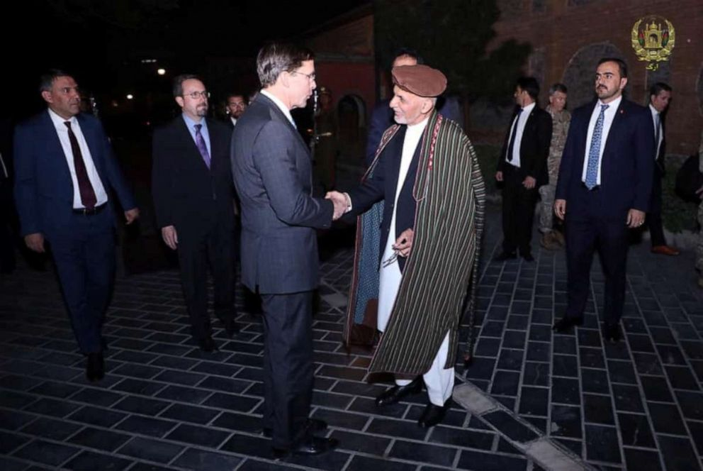 PHOTO: Afghanistans President Ashraf Ghani shakes hand with Defense Secretary Mark Esper in Kabul, Afghanistan, Oct. 20, 2019.