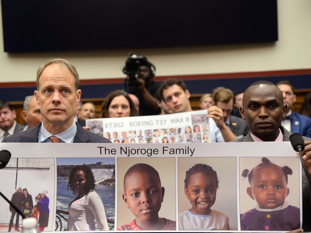 PHOTO: Michael Stumo, father of Flight ET302 victim Samya Stumo, and Paul Njoroge, representing the families of Ethiopian Airlines Flight 302, testify in Washington, D.C., July 17, 2019.