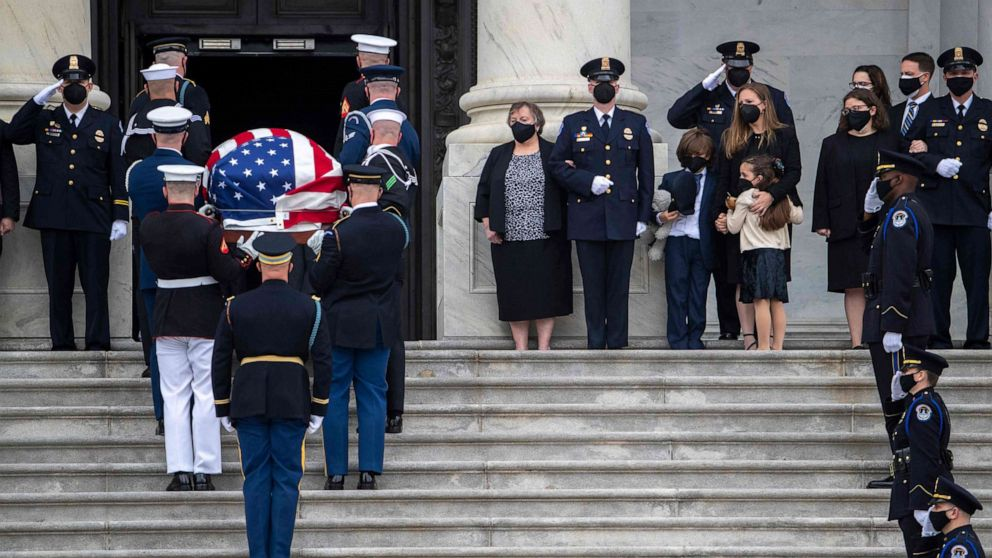 PHOTO: A casket containing the remains of Capitol Police officer William Evans, who was killed in the line of duty on April 2, arrives for a ceremony honoring the officer at the Capitol in Washington, April 13, 2021.