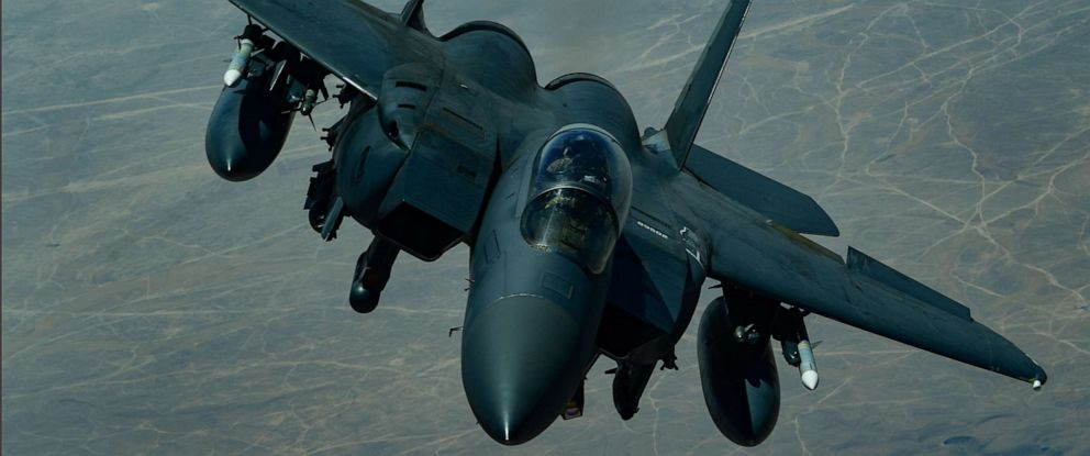 PHOTO: A U.S. Air Force F-15E Strike Eagle descends after receiving fuel from a KC-10 Extender, assigned to the 908th Expeditionary Air Refueling Squadron, out of Al Dhafra Air Base, United Arab Emirates, above an undisclosed location, Sept. 1, 2019.