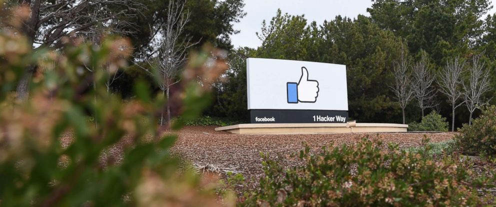 PHOTO: A sign is seen at the entrance to Facebooks corporate headquarters location in Menlo Park, California, March 21, 2018.