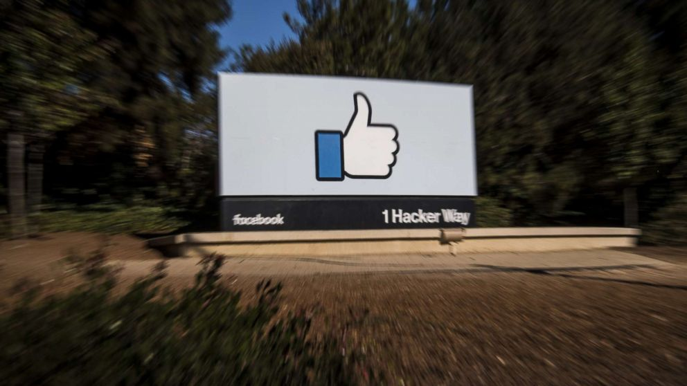 PHOTO: Signage is displayed outside Facebook headquarters in Menlo Park, Calif., Oct. 30, 2018.