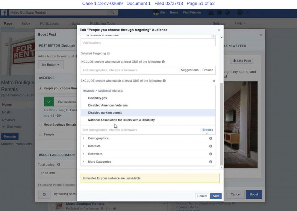 PHOTO: A screenshot from a lawsuit against Facebook shows plaintiffs claim that Facebook allows advertisers to prevent users with interests like disabled parking permit from seeing their ads.