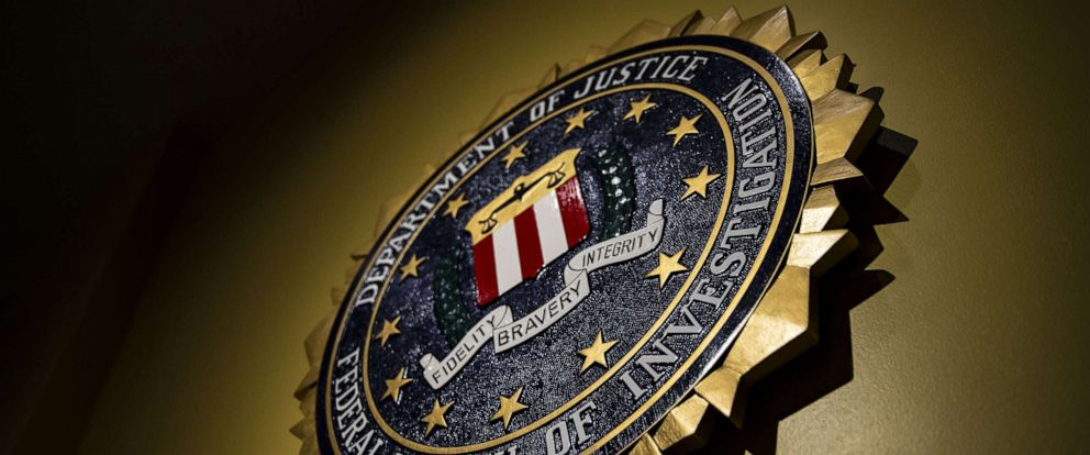 PHOTO: The seal of the Federal Bureau of Investigation (FBI) hangs on a wall at the FBI headquarters in Washington, D.C., June 14, 2018.