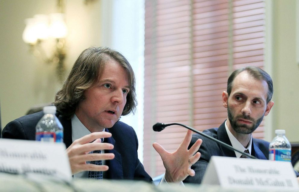 PHOTO: Federal Election Commission (FEC) Commissioners Donald McGahn II (L), and Matthew Petersen (R) testify during a hearing before the Elections Subcommittee of House Committee on House Administration, Nov. 3, 2011, on Capitol Hill.