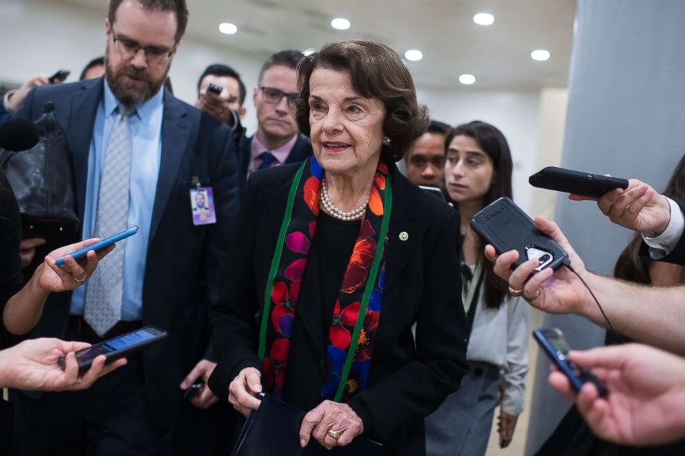 PHOTO: Sen. Dianne Feinstein speaks with reporters after a news conference in the Capitol to discuss the findings of the FBIs supplemental background check on Supreme Court nominee Brett Kavanaugh, Oct. 4, 2018.