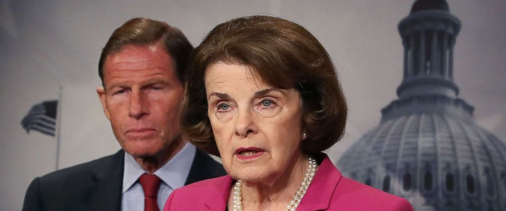 PHOTO: Senate Judiciary ranking member Dianne Feinstein is flanked by fellow Democrat Sen. Richard Blumenthal while speaking about the Keep Families Together Act on Capitol Hill, June 12, 2018, in Washington, D.C.