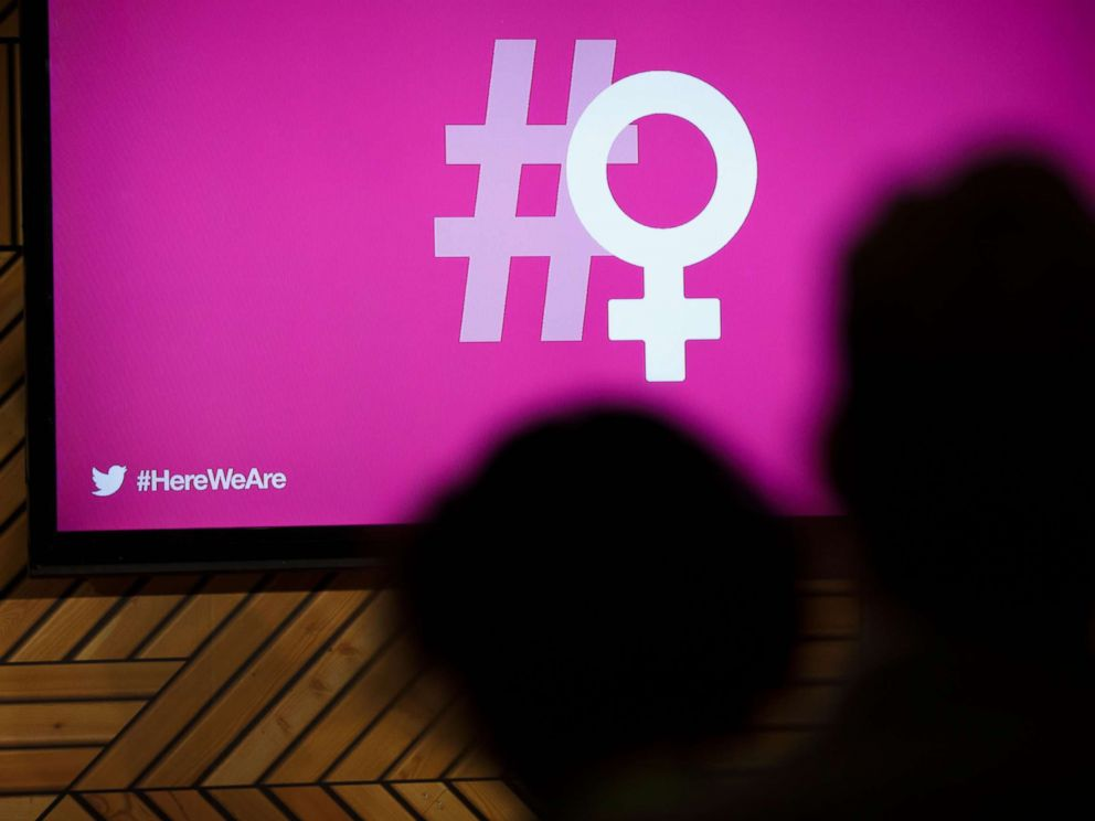 PHOTO: The hashtag and female symbol logo is displayed during the Twitter Inc. #HereWeAre Women In Tech event at the 2018 Consumer Electronics Show (CES) in Las Vegas, Jan. 10, 2018.