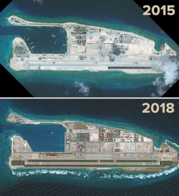 PHOTO: DigitalGlobe satellite imagery from Sept. 3, 2015 and Aug. 15, 2018 show the progress of development on the Fiery Cross Reef located in the South China Sea.