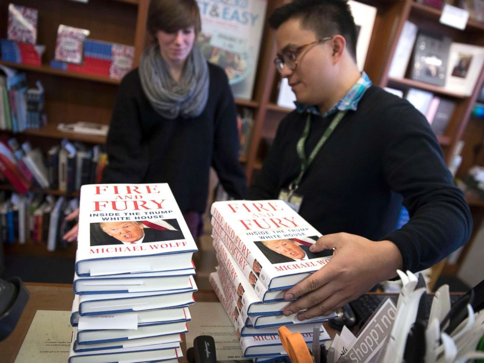 PHOTO: Pre-sold copies of Michael Wolffs book Fire and Fury, the tell all about the Trump White House, are stacked at Politics and Prose book store in Washington, Jan. 5, 2018. Byline: