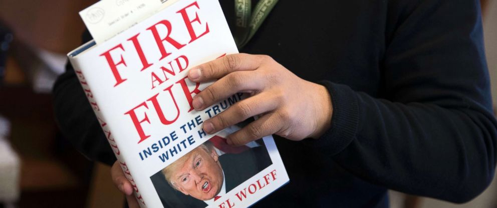 "PHOTO: Michael Wolffs book ""Fire and Fury,"" the tell all about the Trump White House, is stacked at Politics and Prose book store, Jan. 5, 2018, in Washington."