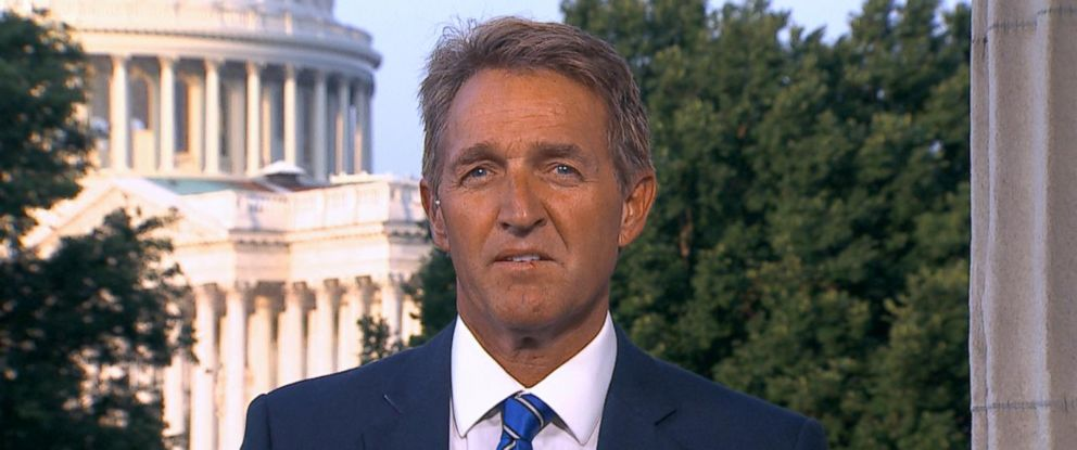"""PHOTO: Sen. Jeff Flake tells """"Good Morning America"""" how John McCain first told him about his brain cancer diagnosis, July 20, 2017."""