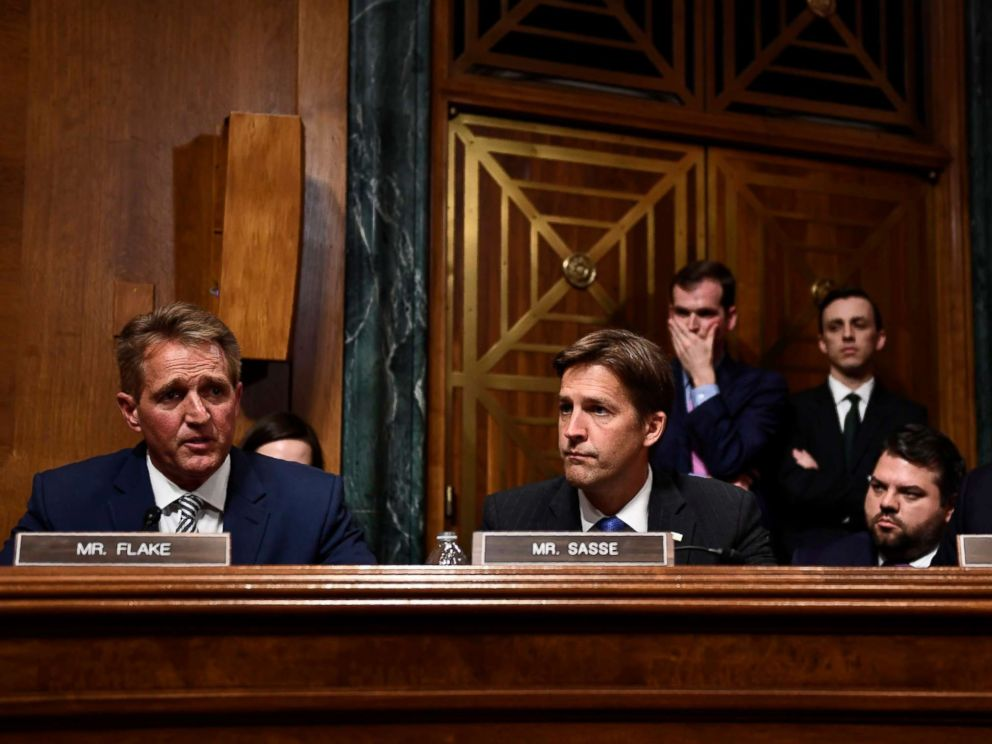 PHOTO: Senate Judiciary Committee member Republican Jeff Flake, left, speaks during a hearing on Capitol Hill in Washington on Sept. 28, 2018, on the nomination of Brett Kavanaugh to the Supreme Court.