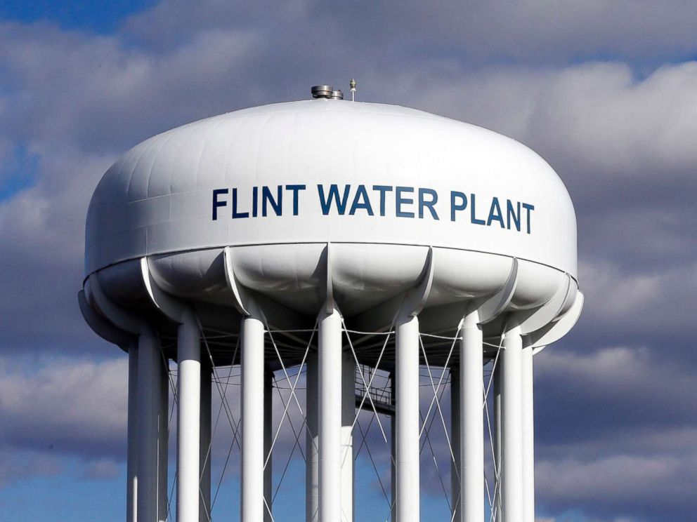 PHOTO: The Flint Water Plant water tower is seen in Flint, Mich., March 21, 2016.