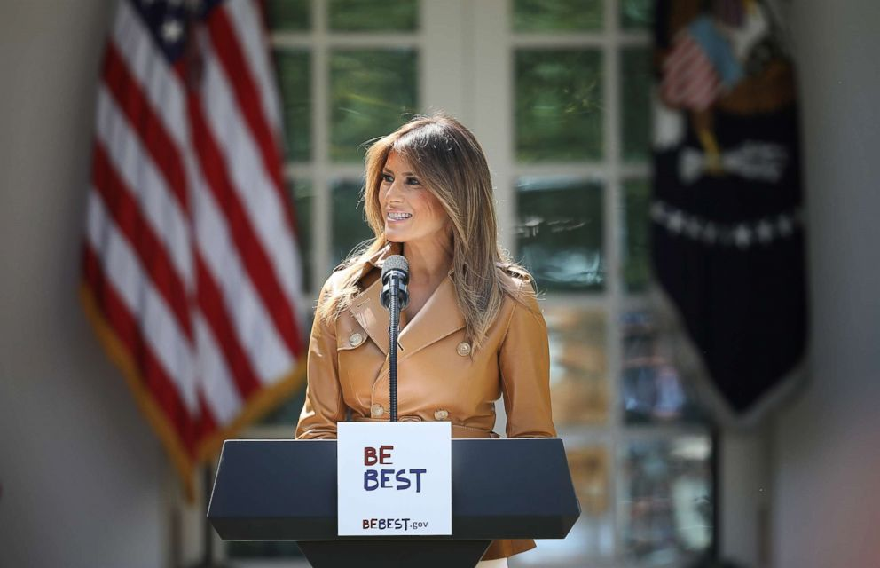 PHOTO: First lady Melania Trump speaks in the Rose Garden of the White House May 7, 2018 in Washington. Trump outlined her new initiatives, known as the Be Best program, during the event.