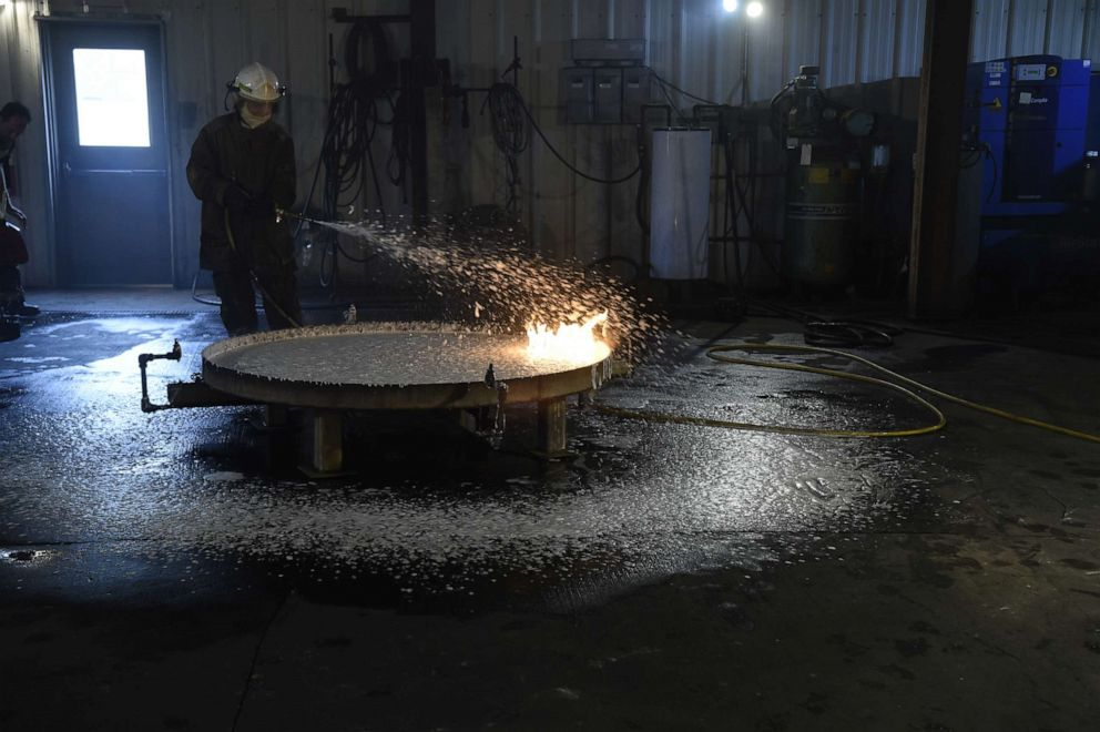 PHOTO: PFAS-free firefighting foam was tested in late October at the Naval Research Laboratory in Washington D.C.