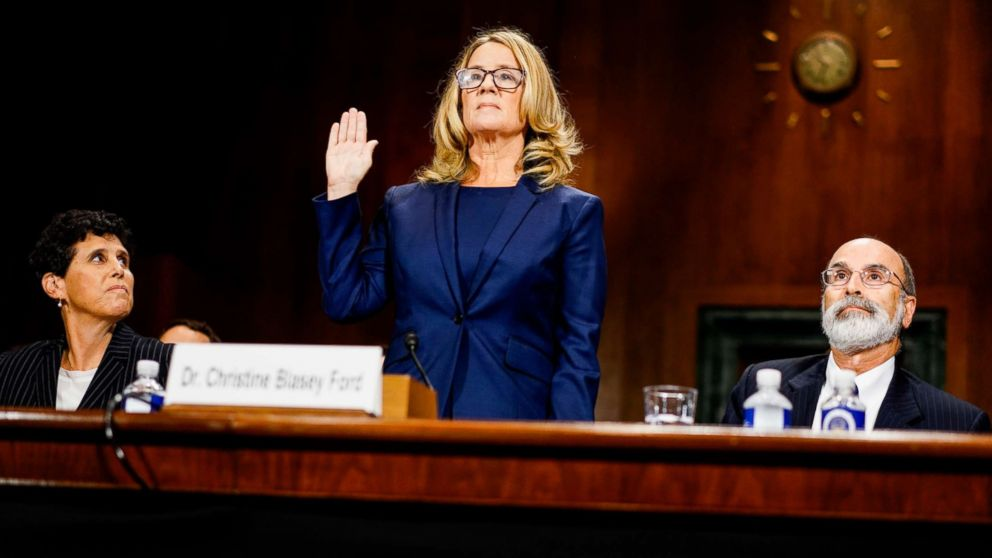 Christine Blasey Ford swears in at a Senate Judiciary Committee hearing on Capitol Hill in Washington, Sept. 27, 2018.