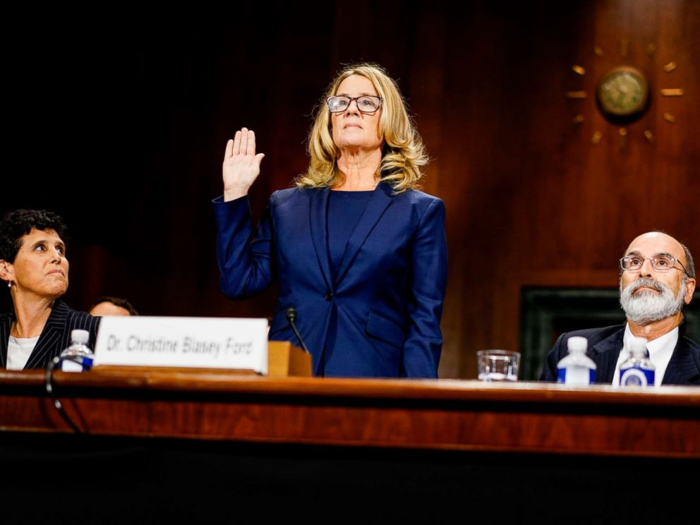 PHOTO: Christine Blasey Ford swears in at a Senate Judiciary Committee hearing on Capitol Hill in Washington, Sept. 27, 2018.