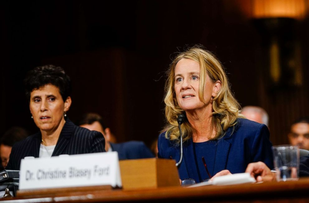 PHOTO: Christine Blasey Ford, with lawyer Debra S. Katz, left, answers questions at a Senate Judiciary Committee hearing on Thursday, Sept. 27, 2018 on Capitol Hill.