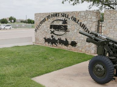 PHOTO: A vehicle drives by a sign at Scott Gate, one of the entrances to Fort Sill, in Fort Sill, Okla., in this June 17, 2014 file photo.