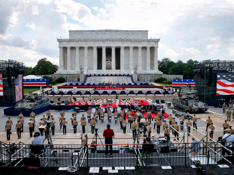 PHOTO: Two Bradley Fighting Vehicles flank the stage being prepared in front of the Lincoln Memorial, July 3, 2019, in Washington D.C., ahead of planned Fourth of July festivities with President Donald Trump.