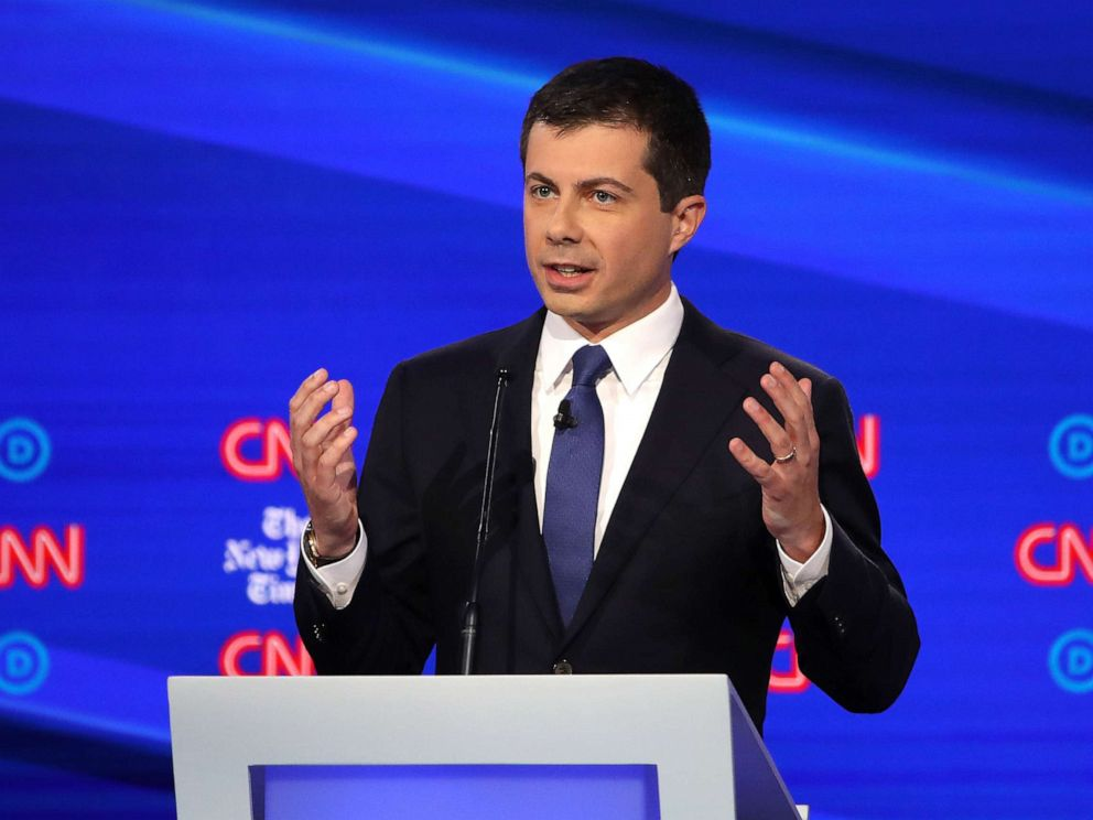 PHOTO: Democratic presidential hopeful Pete Buttigieg speaks during the fourth Democratic primary debate at Otterbein University in Westerville, Ohio, Oct. 15, 2019.
