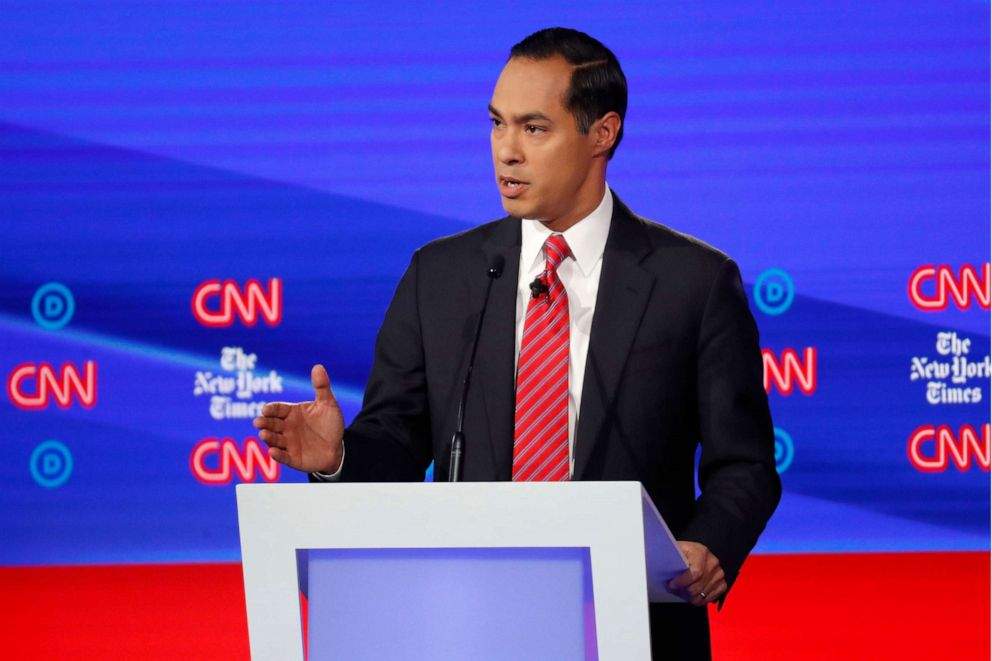 PHOTO: Democratic presidential hopeful Julian Castro speaks during the fourth Democratic primary debate at Otterbein University in Westerville, Ohio, Oct. 15, 2019.