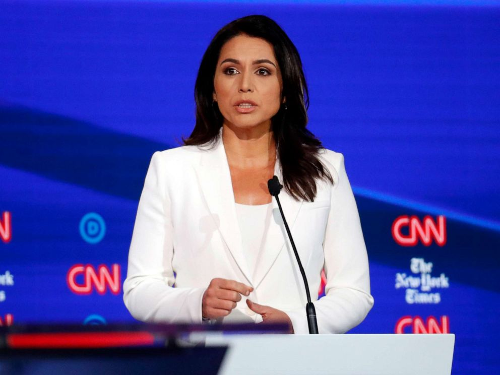 PHOTO: Democratic presidential hopeful Tulsi Gabbard speaks during the fourth Democratic primary debate at Otterbein University in Westerville, Ohio, Oct. 15, 2019.