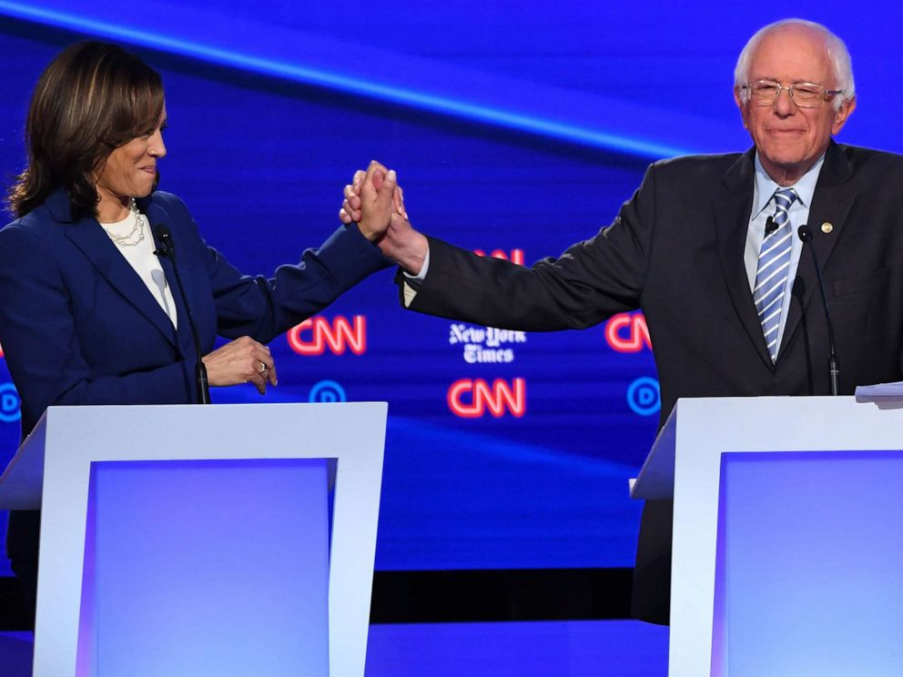 PHOTO: Democratic presidential hopefuls Kamala Harris and Bernie Sanders during the fourth Democratic primary debate at Otterbein University in Westerville, Ohio, Oct. 15, 2019.
