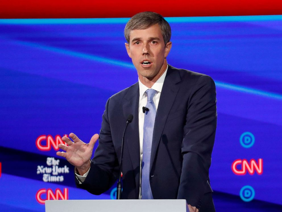 PHOTO: Democratic presidential hopeful Beto ORourke speaks during the fourth Democratic primary debate at Otterbein University in Westerville, Ohio, Oct. 15, 2019.