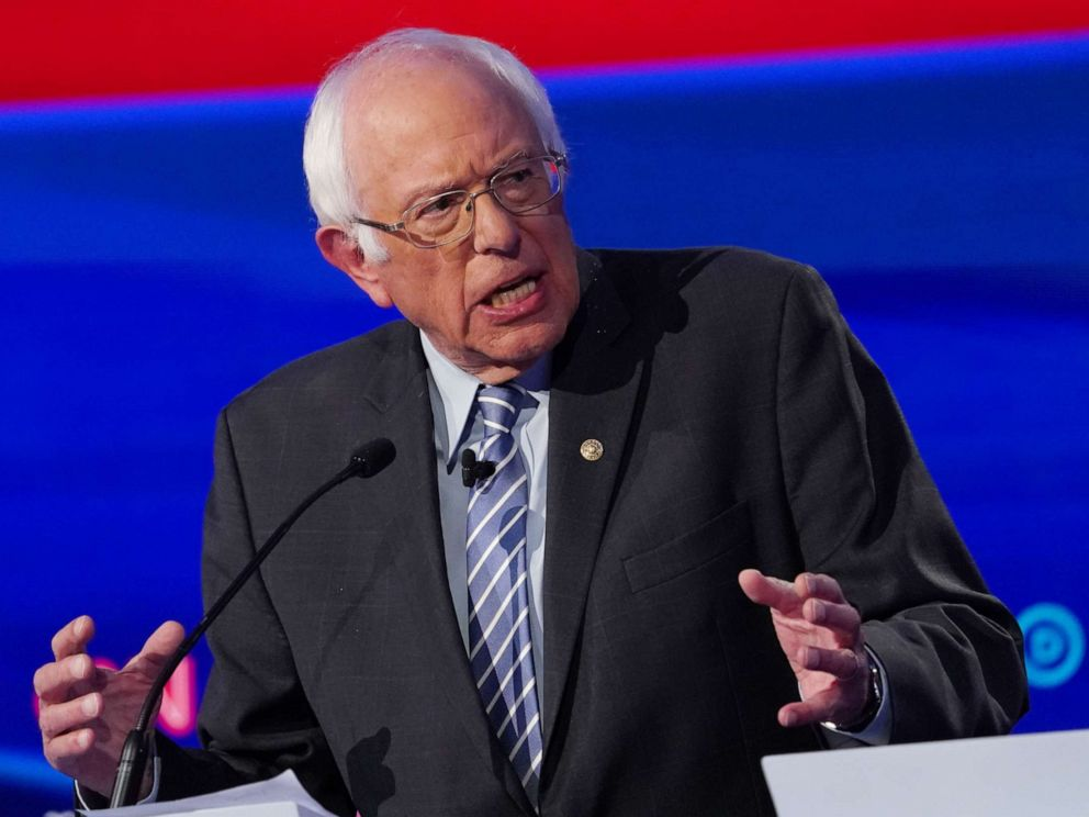 PHOTO: Democratic presidential hopeful Bernie Sanders speaks during the fourth Democratic primary debate at Otterbein University in Westerville, Ohio, Oct. 15, 2019.