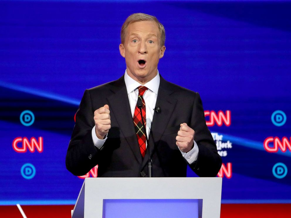PHOTO: Democratic presidential hopeful Tom Steyer speaks during the fourth Democratic primary debate at Otterbein University in Westerville, Ohio, Oct. 15, 2019.