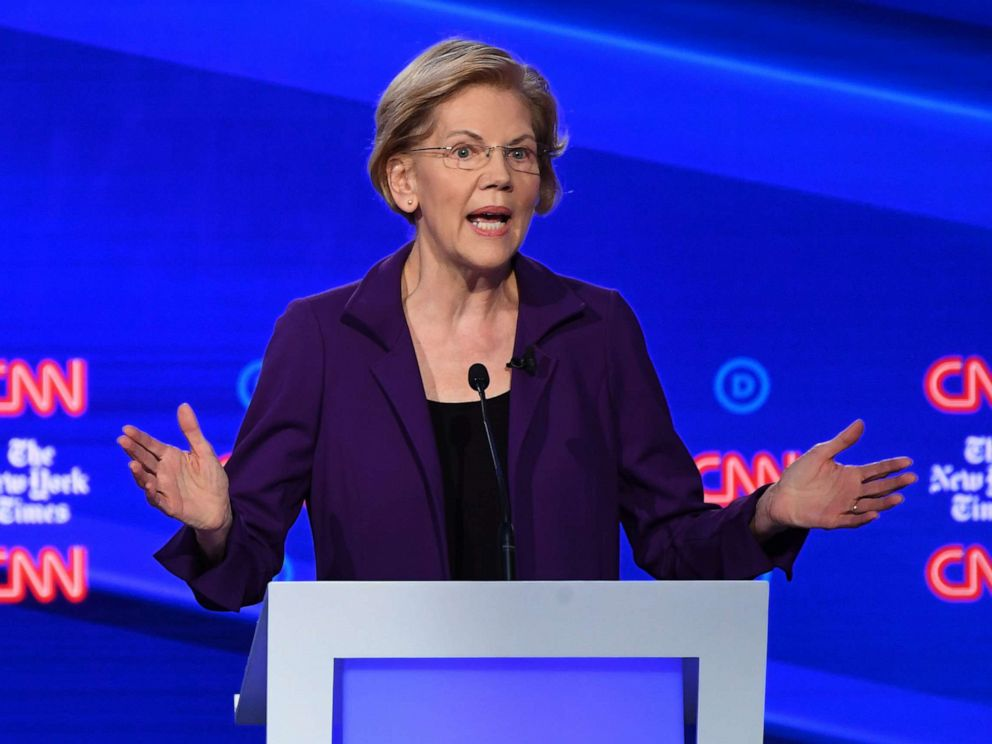 PHOTO: Democratic presidential hopeful Sen. Elizabeth Warren speaks during the fourth Democratic primary debate at Otterbein University in Westerville, Ohio, Oct. 15, 2019.