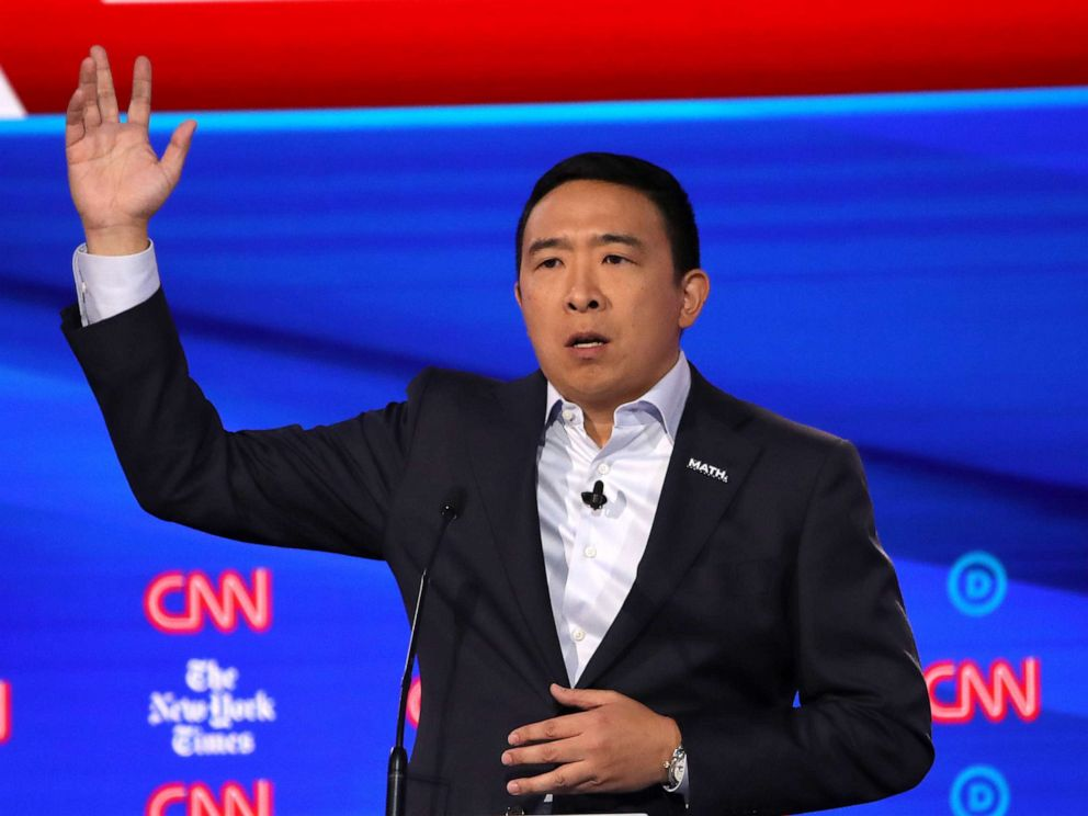 PHOTO: Democratic presidential hopeful Andrew Yang speaks during the fourth Democratic primary debate at Otterbein University in Westerville, Ohio, Oct. 15, 2019.