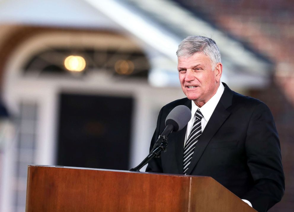 PHOTO: Franklin Graham delivers the eulogy during the funeral of his father Reverend Dr. Billy Graham in Charlotte, N.C., on March 02, 2018.