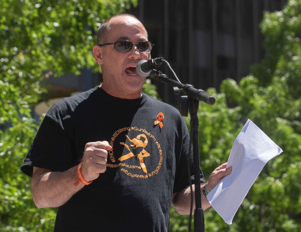PHOTO: Fred Guttenberg, whos daughter was killed in the Parkland Fla. shooting, speaks during a protest against the National Rifle Association in Dallas, May 5, 2018.