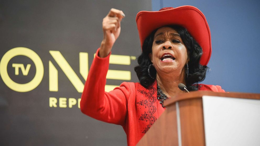 Rep. Frederica Wilson, D-Fla., speaks during the TV One's Screening Bad Dad Rehab at the Walter E. Washington Convention Center, Sept. 16, 2016, in Washington.
