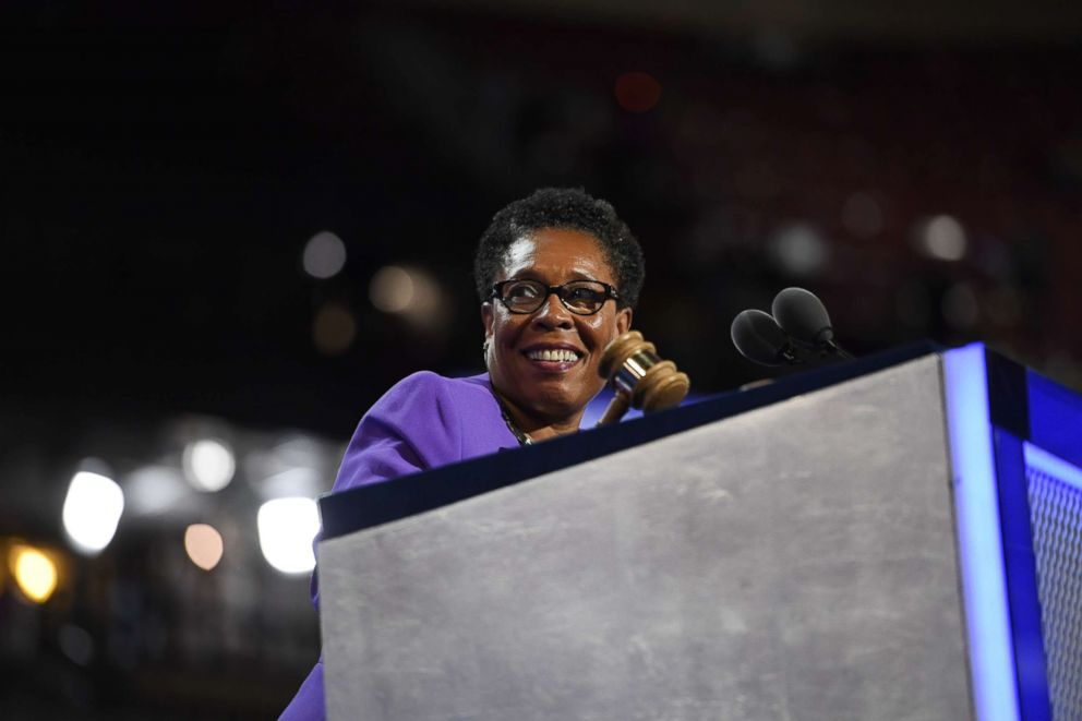 PHOTO: Marcia Fudge, chair of the Democratic National Convention, swings the gavel during the Democratic National Convention (DNC) in Philadelphia, July 26, 2016.