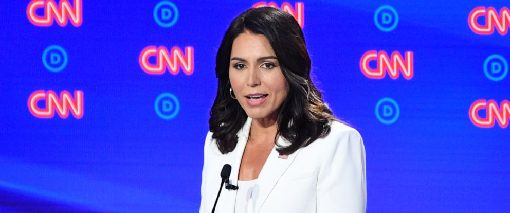 PHOTO: Tulsi Gabbard speaks during the second round of the second Democratic primary debate of the 2020 presidential campaign season hosted by CNN at the Fox Theatre in Detroit, Michigan on July 31, 2019.