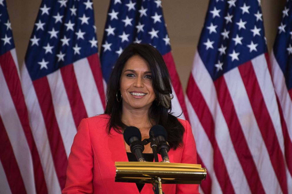 Rep. Tulsi Gabbard, D-Hawaii, attends a Congressional Gold Medal ceremony in Emancipation Hall to honor Filipino veterans of World War II, Oct. 25, 2017.