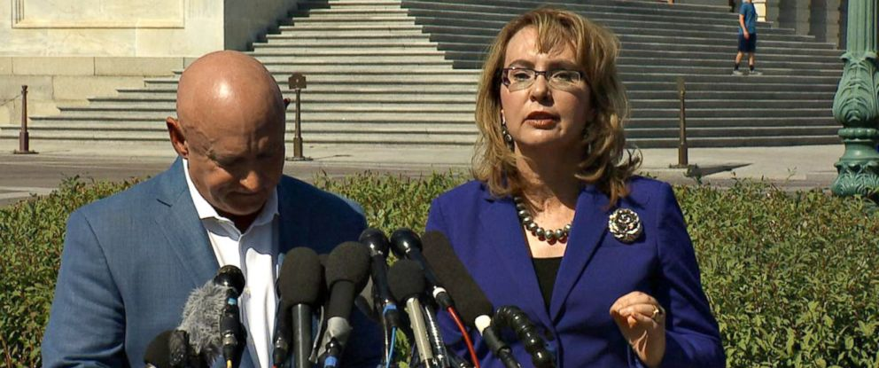 PHOTO: Former Rep. Gabrielle Giffords speaks to the press alongside her husband, retired astronaut Mark Kelly, at the Capitol in Washington, D.C. on Oct. 2, 2017.