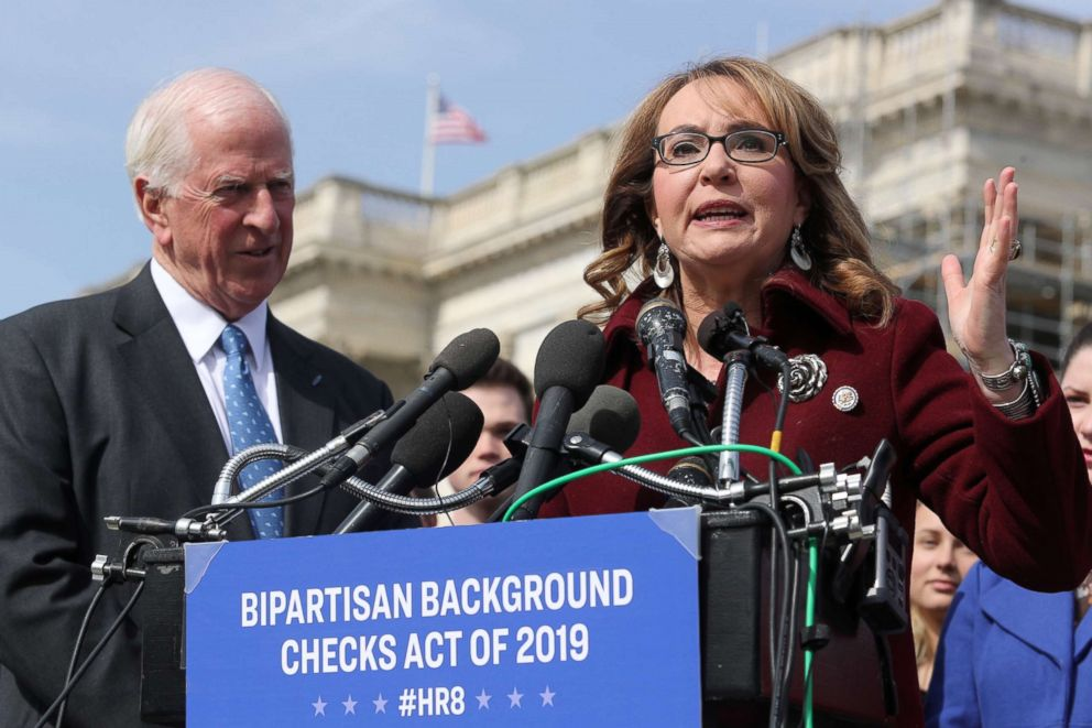 PHOTO: Shooting survivor and former Rep. Gabby Giffords speaks at a news conference about Rep. Mike Thompsons proposed gun background check legislation, on Capitol Hill in Washington, Feb. 26, 2019.