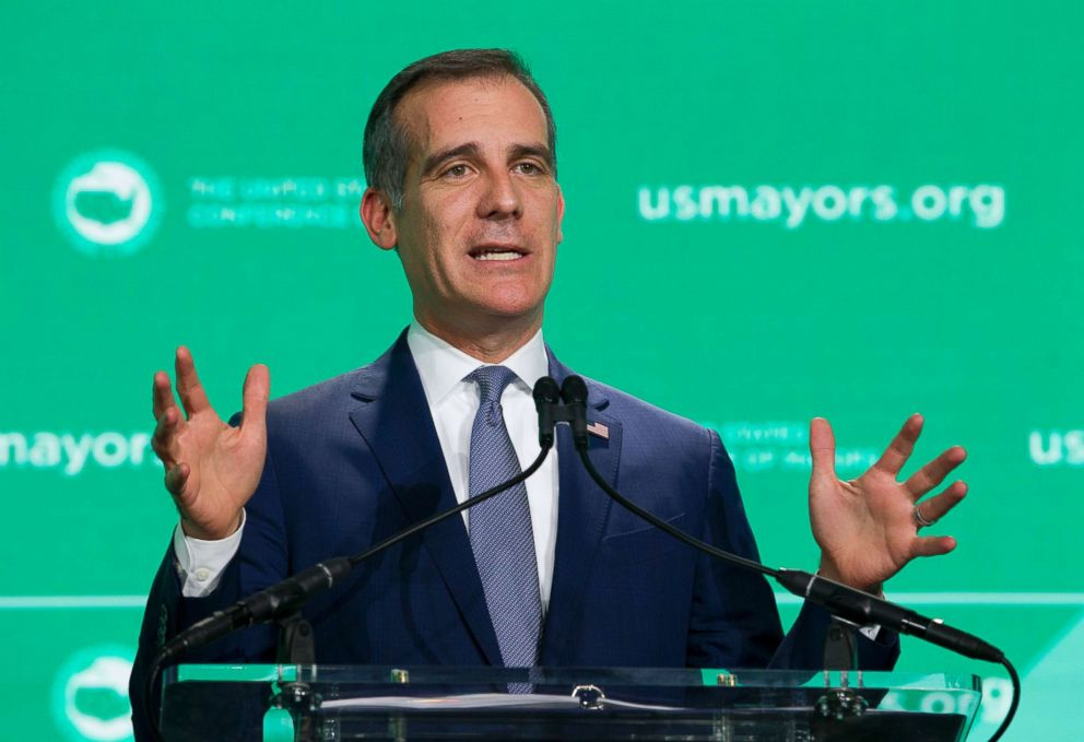 PHOTO: Los Angeles Mayor Eric Garcetti speaks during the U.S. Conference of Mayors meeting in Washington D.C., Jan. 24, 2019.