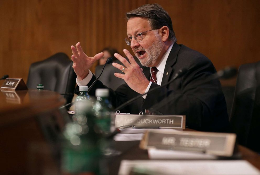 PHOTO: Senate Aviation and Space Subcommittee member Sen. Gary Peters questions witnesses during a hearing on Capitol Hill, May 14, 2019, in Washington, D.C.