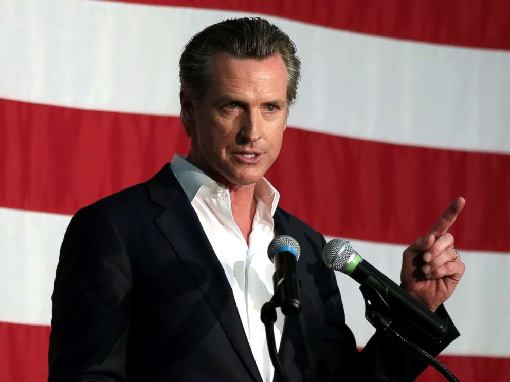 Lieutenant Governor Gavin Newsom speaks at a campaign rally in Burbank Calif