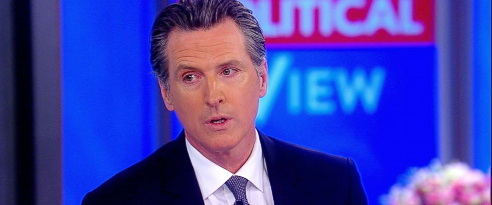 """PHOTO: California Gov. Gavin Newsom speaks about his moratorium on the death penalty in California while visiting ABCs, """"The View,"""" March 15, 2019."""
