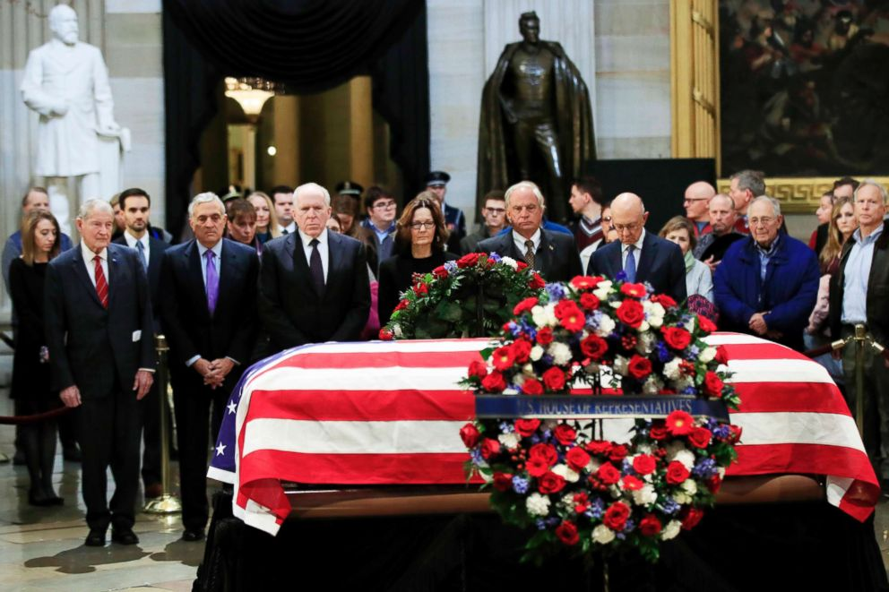 PHOTO: CIA Director Gina Haspel together with former CIA Directors pay their last respect to former President George H.W. Bush as he lies in state at the U.S. Capitol in Washington, Dec. 4, 2018.