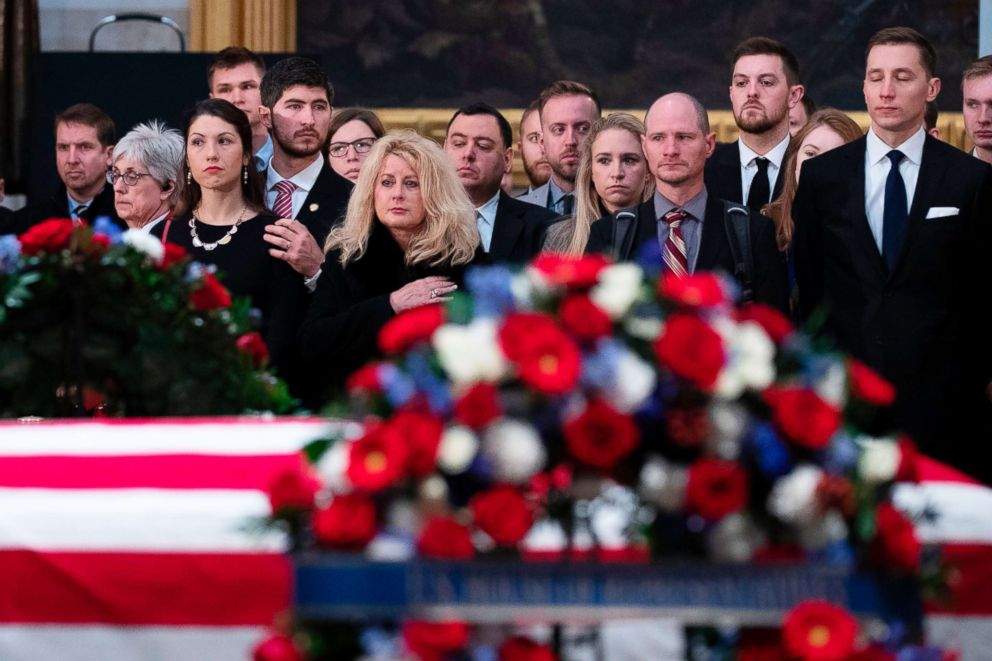PHOTO: People gather in the Rotunda of the U.S. Capitol to pay respects to former U.S. President George H.W. Bush, as the remains of the former president lie in state in Washington, D.C., Dec. 4, 2018.